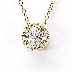 18K K18ゴールド 【送料無料】一粒石 ダイヤネックレス 0.30ctK18イエローゴールド ペンダント 誕生日 ギフト