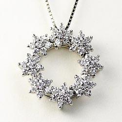 【送料無料】フラワーリース☆0.50ct 花ペンダント 天然ダイヤモンド K18WG ギフト