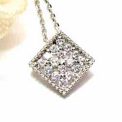 18K K18ゴールド 【送料無料】ダイヤペンダント0.14ct四角天然ダイヤモンド K18WG・YG・PG ギフト