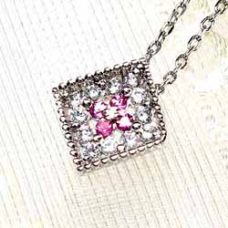ダイヤペンダント ネックレス0.11ct四角天然ダイヤモンド K18WG YG PG ギフト