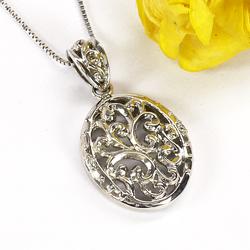 プラチナ900 【送料無料】ダイヤモンド オーバル型 透かし模様 ペンダント 天然ダイヤモンド ギフト