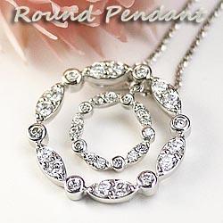 ダイヤモンド0.62ct ラウンド ペンダント ネックレス 天然ダイヤモンド K18WG ギフト