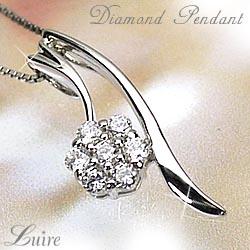 フラワー ペンダント ネックレス 花 記念日 誕生日 天然ダイヤモンド ギフトプラチナ900 【送料無料】