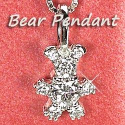 ベアー ダイヤモンド 0.18ct クマ ペンダント ネックレス くま アニマル プレゼントプラチナ900 【送料無料】