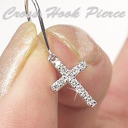 18K K18ゴールド 【送料無料】クロスフックピアス プレゼント K18ゴールド 天然ダイヤモンド ギフト 結婚記念 誕生日 彼女 ゴールド 自分ご褒美 クリスマス 誕生石 パワーストーン