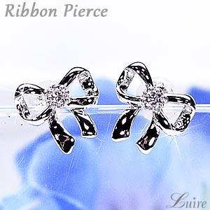 プラチナ900 リボン スタッドピアス 一粒石 ダイヤモンド  ピアス彼女 誕生日 クリスマス 【送料無料】