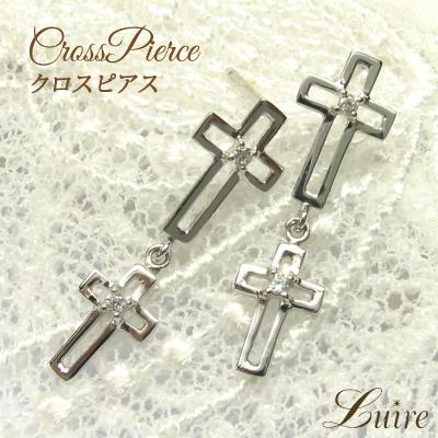 プラチナ900 クロス ピアス 天然ダイヤモンド ギフト 結婚記念 プレゼント 彼女 誕生日 クリスマス 自分ご褒美 パワーストーン