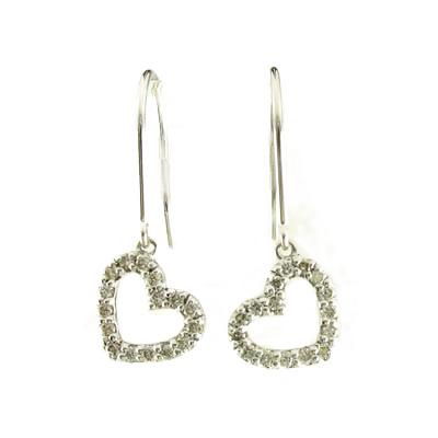 【送料無料】LOVEハートフックピアス プレゼントプラチナ900 天然ダイヤモンド 誕生日 彼女