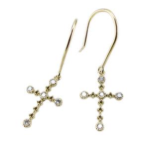 クロスフックピアス アンティーク調 K18ゴールド 天然ダイヤモンド ギフト 結婚記念 誕生日 彼女 ゴールド 自分ご褒美 クリスマス 誕生石 パワーストーン