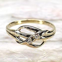 リボン ダイヤモンドリング K18 ゴールド 天然ダイヤモンド 誕生日 プレゼント 彼女自分ご褒美 結婚指輪