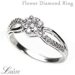 【送料無料】花 ダイヤリング フラワーリング K18 ゴールド 天然ダイヤモンド ギフト 誕生日 記念日 プレゼント 彼女 指輪 自分ご褒美 結婚指輪