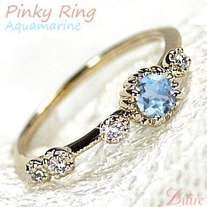 【3月誕生石】 アクアマリン K18 ピンキーリング アンティーク風 ダイヤモンドリング 小指 誕生日 指輪 自分ご褒美 【K18YG】K18 ゴールド 【送料無料】
