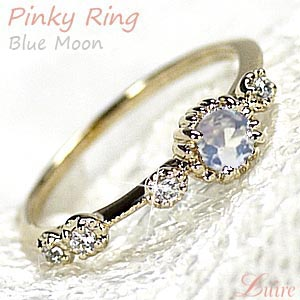 【6月誕生石】 ムーンストーン K18 ピンキーリング アンティーク風 ダイヤモンドリング 小指 誕生日 指輪 自分ご褒美【K18YG】【K18PG】【K18WG】K18 ゴールド 【送料無料】