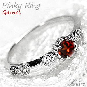【1月誕生石】 ガーネット ピンキーリング アンティーク風 ダイヤモンドリング 小指 誕生日 指輪 自分ご褒美  プラチナ900 【送料無料】
