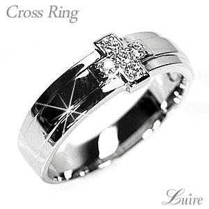 クロス メンズリング ダイヤモンド 幅広 シンプル プラチナ900 結婚指輪 プレゼント マリッジリング 誕生日【送料無料】