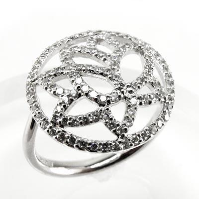 K10 ゴールド フラワーリング ダイヤリング 0.50ct 誕生日 プレゼント 指輪【K10WG】【K10YG】【K10PG】 【送料無料】
