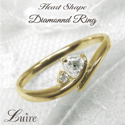 K18 ゴールド ハート 華奢 リング 【誕生石】ダイヤモンド ミディリング ファランジリング 誕生日 プレゼント 自分ご褒美