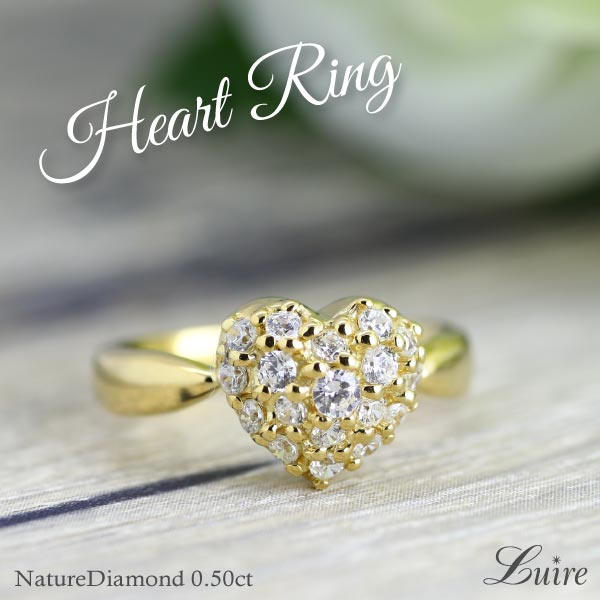 K18 ゴールド ハート パヴェ リング 0.50ct K18WG/YG/PG ダイヤモンド 誕生日 記念日 メモリアル 指輪 プレゼント ギフト 結婚記念