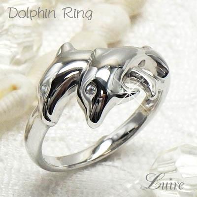 10金 イルカ ダイヤリング ドルフィン 2匹 K10ゴールド ダイヤモンドリング ドルフィンリング 誕生日 プレゼント 彼女 指輪