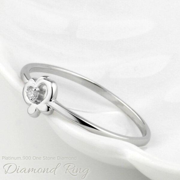 リング レディース ダイヤモンド 一粒石 ちょうちょ 蝶々 バタフライ 一粒石 プラチナ900 天然ダイヤモンド PT900 誕生日 プレゼント 自分ご褒美