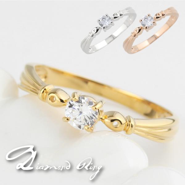 リング レディース 一粒ダイヤモンド シンプル 普段使い K18ホワイト・イエロー・ピンクゴールド 18金 結婚指輪 婚約指輪 記念日 誕生日 ギフト プレゼント 自分ご褒美ジュエリー