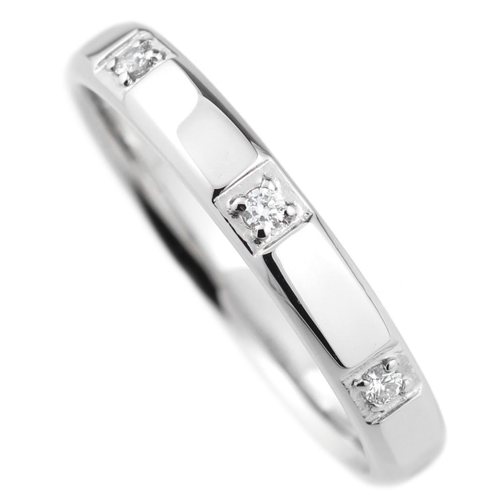 18K K18ゴールド 【送料無料】トリロジー ダイヤリング K18WG 結婚指輪 天然ダイヤモンド ギフト 鑑別書誕生日 プレゼント 彼女 指輪 ゴールド