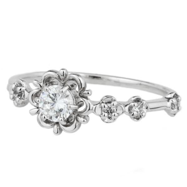 プラチナ900 ピンキーリング フラワー 花 ダイヤモンド リング 小指 アンティーク風 誕生日 プレゼント 彼女 指輪  【送料無料】