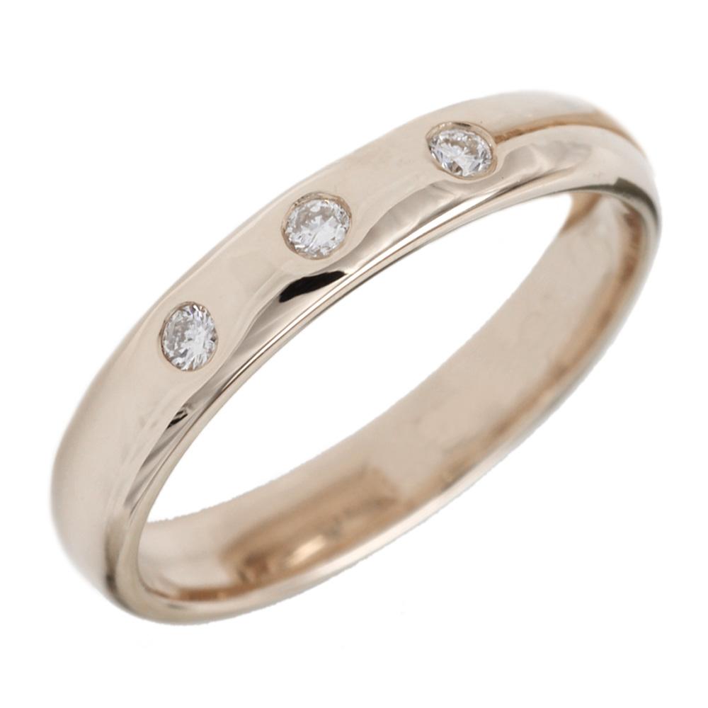 婚約指輪  【送料無料】ダイヤ.スリーストーンリング K18PG 天然ダイヤモンド 結婚指輪 ストレート指輪 プレゼント