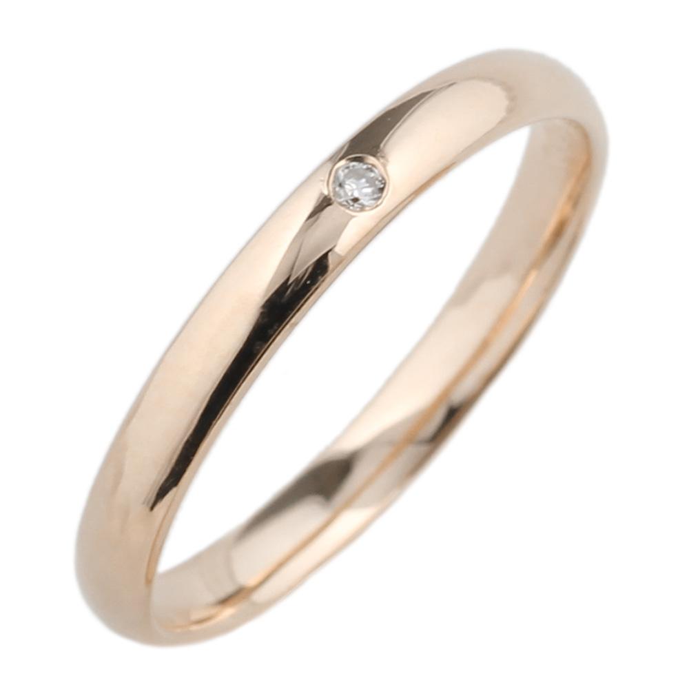 18K K18ゴールド 【送料無料】ダイヤ0.01ct 一粒石リング K18PG 天然ダイヤモンド 誕生日 ストレート 指輪 プレゼント
