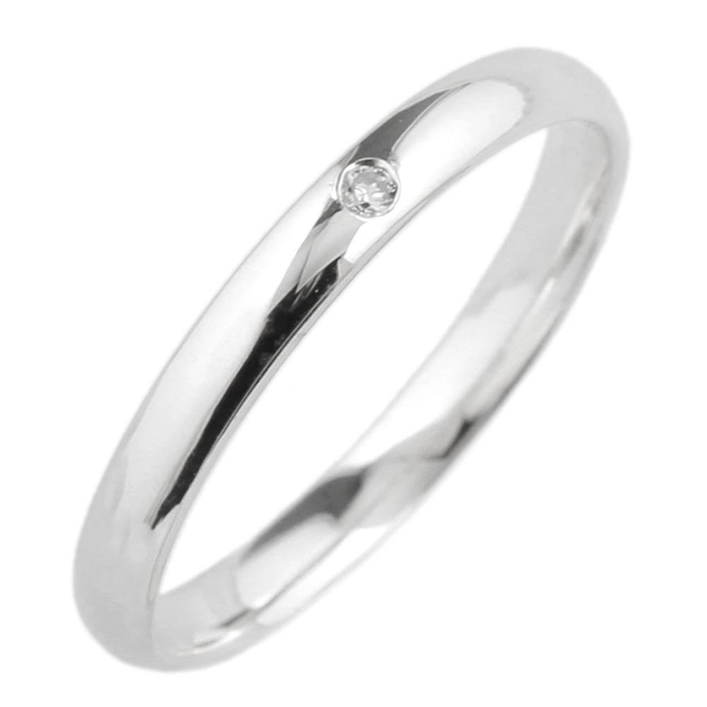 18K K18ゴールド 【送料無料】ダイヤ0.01ct 一粒石リングK18WG 天然ダイヤモンド 誕生日 ストレート指輪 プレゼント