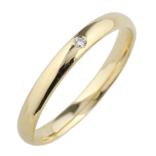 18K K18ゴールド 【送料無料】ダイヤ0.01ct 一粒石リング K18YG 天然ダイヤモンド 重ね付け ミディリング ファランジリング 誕生日 ストレート 指輪 プレゼント