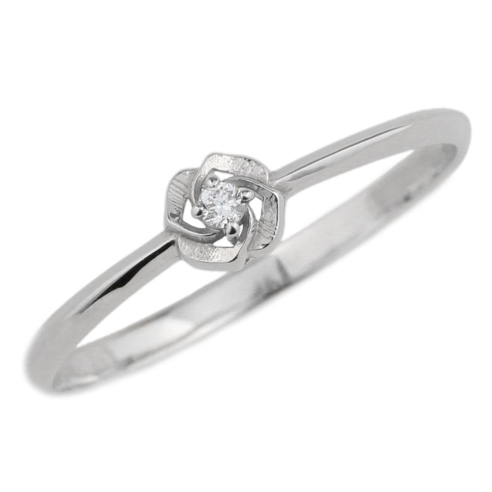 プラチナ900 花 一粒石 フラワー ダイヤモンドリング 華奢 誕生日プレゼント彼女 指輪 自分ご褒美 【送料無料】