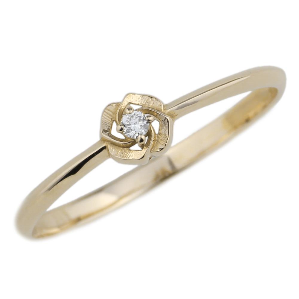 K18 ゴールド 花 一粒石 フラワー ダイヤモンドリング 華奢 誕生日プレゼント彼女 指輪 自分ご褒美 【K18WG】【K18YG】【K18PG】 【送料無料】