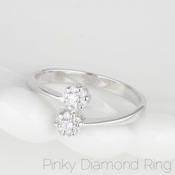 18K K18ゴールド 【送料無料】ダイヤ.ピンキーリング ラウンドフラワー K18WG 天然ダイヤモンド 小指指輪 プレゼント