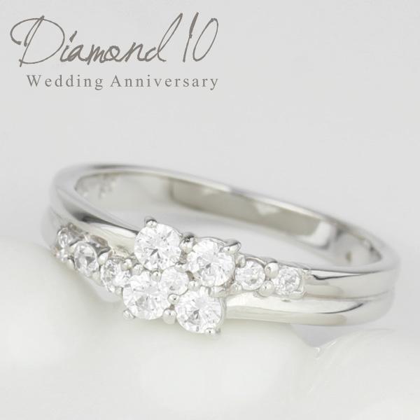 プラチナ900 【送料無料】ダイヤモンド10 ダイヤモンド フラワーリング 天然ダイヤモンド ギフト 誕生日 結婚記念日 プレゼント 彼女 指輪 プラチナ 自分ご褒美 結婚指輪