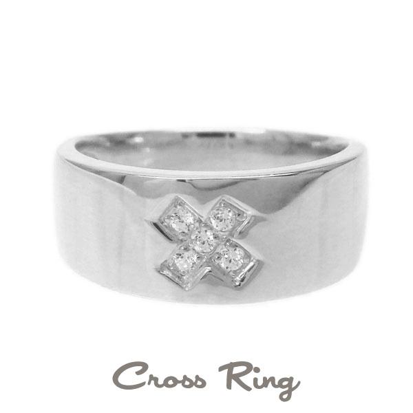 プラチナ900 【送料無料】バンドタイプ クロスリング 天然ダイヤモンド 誕生日 シンプル 自分ご褒美