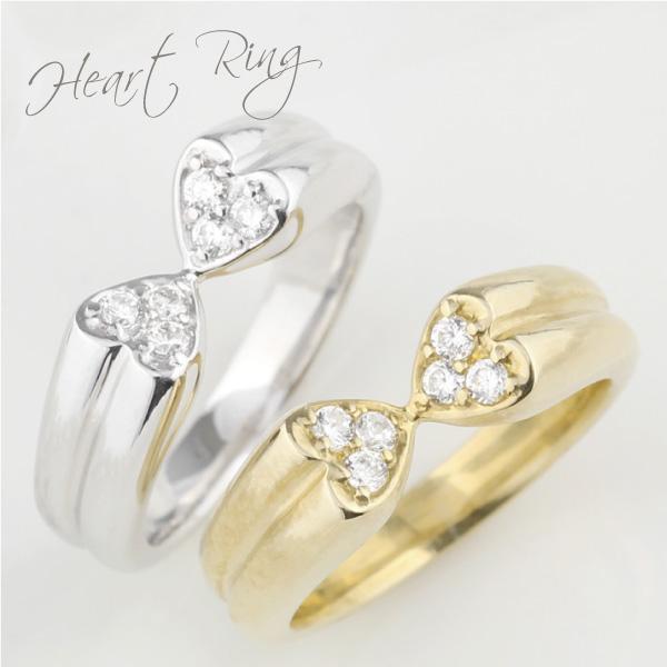 K18ゴールド ハート ダイヤモンド リング ボリューミー 個性的 K18WG YG PG 誕生日 記念日 メモリアル 指輪 プレゼント ギフト 結婚記念