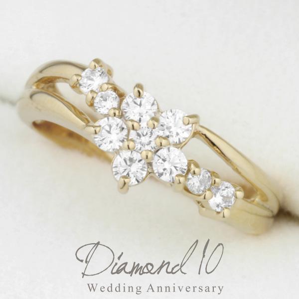 リング レディース ダイヤモンドリング 結婚 10周年 リング 0.40ct K18WG/YG/PG ダイヤ リング 18金 誕生日 記念日 指輪 プレゼント ギフト 結婚記念