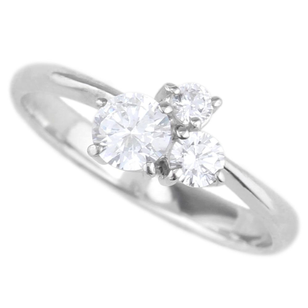 18K K18ゴールド 【送料無料】ダイヤモンド0.50ct SIクラスK18WG 天然ダイヤモンド トリロジー 婚約指輪 誕生日 プレゼント 彼女