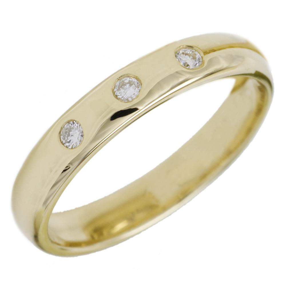 婚約指輪  【送料無料】ダイヤ.スリーストーンリング K18YG 天然ダイヤモンド 結婚指輪 ストレート指輪 プレゼント