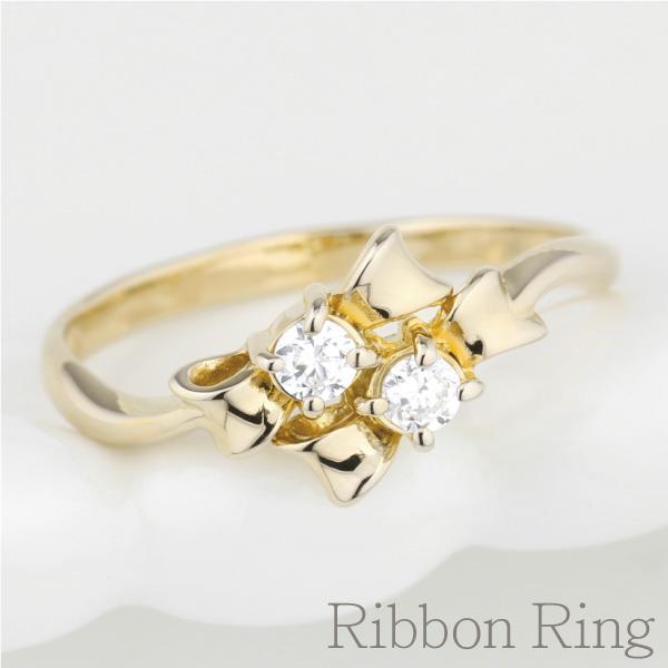K10 ゴールド リボン リング ダイヤモンド リング 誕生日 プレゼント 指輪 【K10WG】【K10YG】【K10PG】 【送料無料】