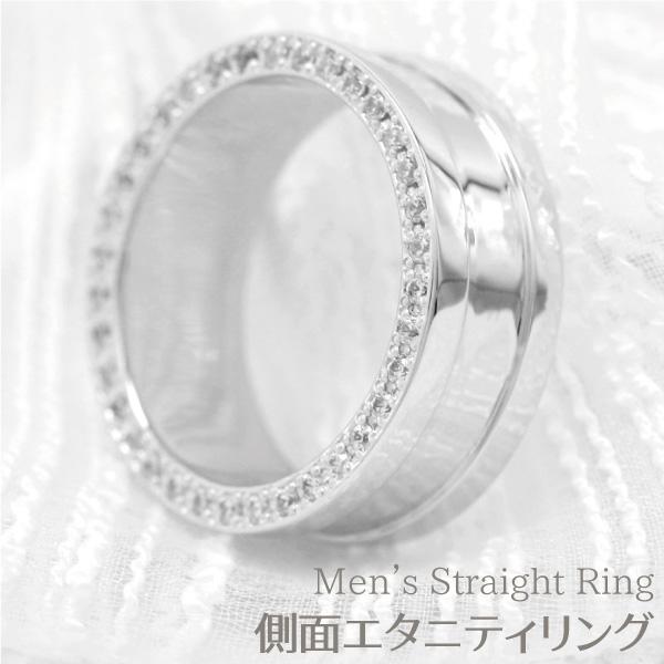 リング メンズ 幅広 側面 ダイヤモンド エタニティ リング プラチナ 誕生日 記念日 Pt900 結婚指輪 マリッジ ブライダルリング プレゼント ギフト 結婚記念 自分ご褒美