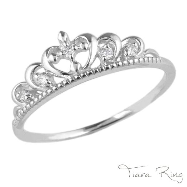 【送料無料】ティアラ ダイヤリング プラチナ900 天然ダイ ヤモンド ギフト 誕生日 彼女 自分ご褒美
