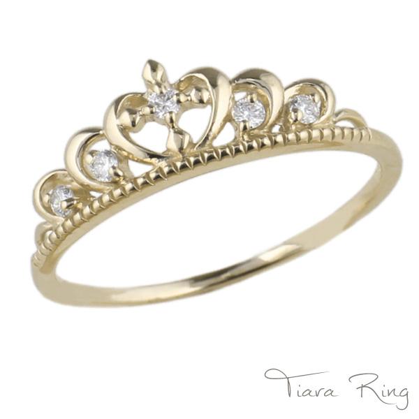 【送料無料】ティアラ ダイヤリング K18 ゴールド 天然ダイヤモンド ギフト 誕生日 彼女 自分ご褒美