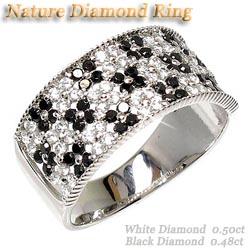 プラチナ900 【送料無料】花 ブラックダイヤリング0.98ct天然ダイヤモンド 誕生日 指輪 ギフト