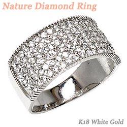 18K K18ゴールド 【送料無料】花 ダイヤリング0.98ct K18WG天然ダイヤモンド 誕生日 指輪 ギフト