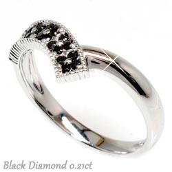 花 ブラックダイヤリング0.21ct天然ダイヤモンド 誕生日 指輪 ギフト K18WG
