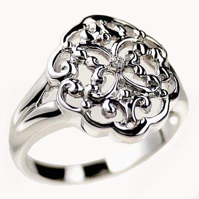 【送料無料】一粒石 ダイヤリング 透かし模様 プラチナ900  ギフト 結婚記念 誕生日 プレゼント 彼女 指輪 プラチナ 自分ご褒美
