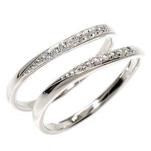 【送料無料】2本セット ダイヤリング セットリング プラチナ900 天然ダイヤモンド ギフト 結婚記念誕生日 プレゼント 彼女 指輪 プラチナ