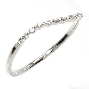 ダイヤリング 華奢 シンプル K18WG 天然ダイヤモンド ギフト 結婚記念 プレゼント 誕生日 彼女 指輪 ゴールド 自分ご褒美